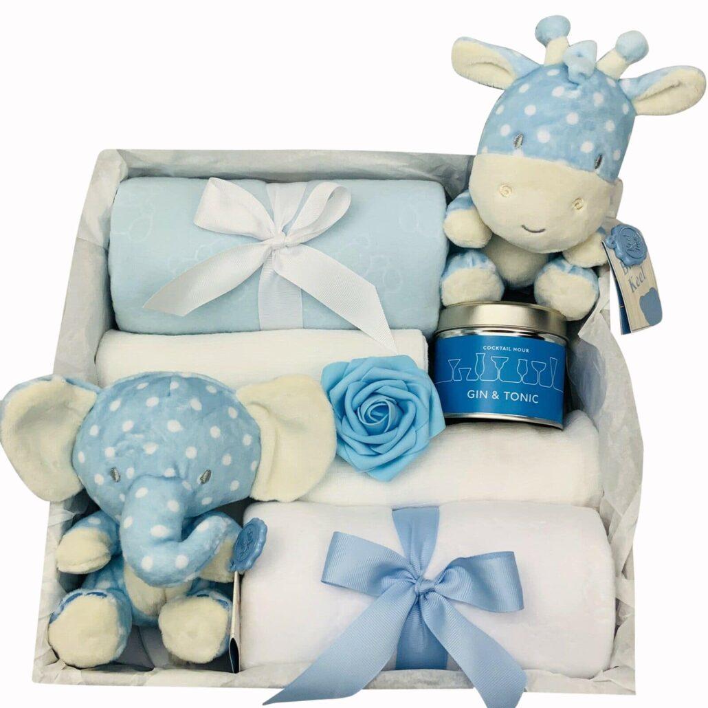 Spotty Animals Baby Boy 2-Tier Nappy Cake Gift Maternity New Baby Shower Hamper